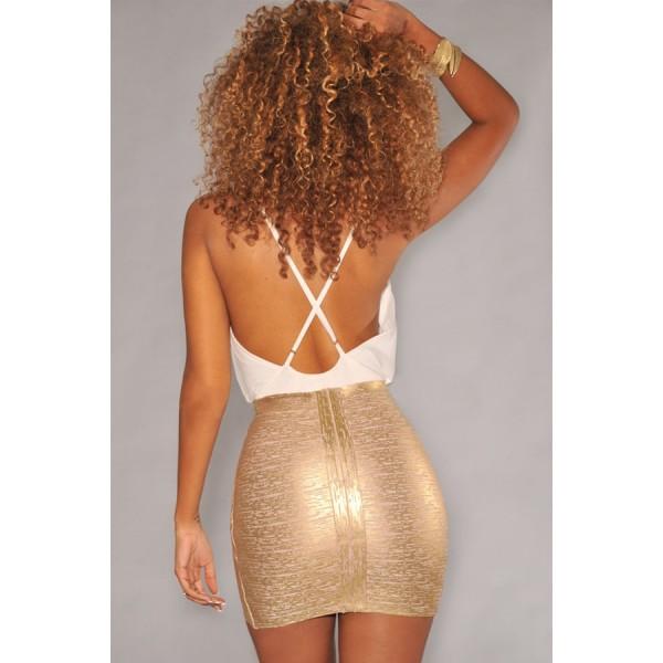 Gold Foil Bandage Arched Mini Skirt