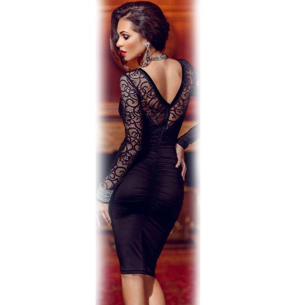 Floral Applique Lace Ruched Bodycon Midi Dress