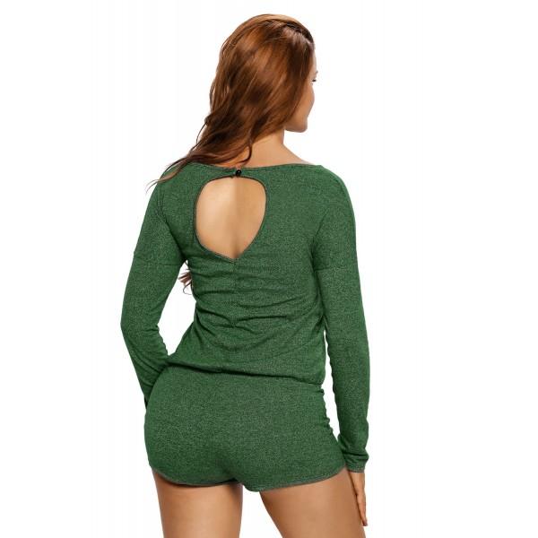 Green Casual Off Shoulder Long Sleeve Romper