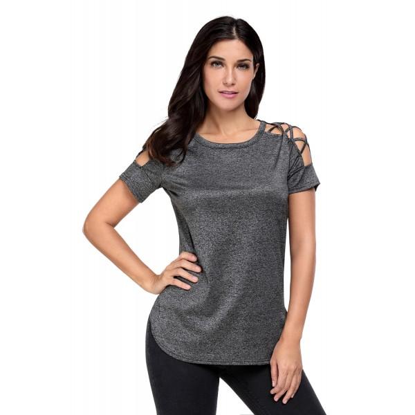 Black Crisscross Detail Short Sleeve T-shirt