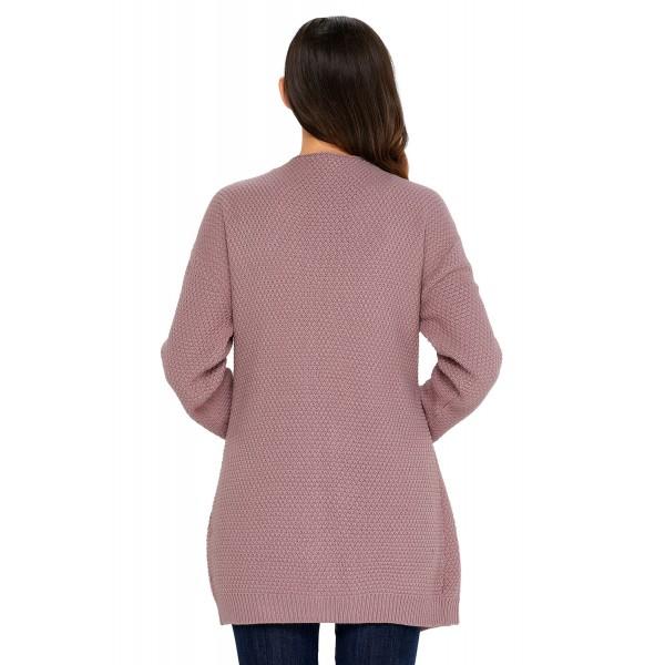 Pink Long Open Front Pocket Cardigan