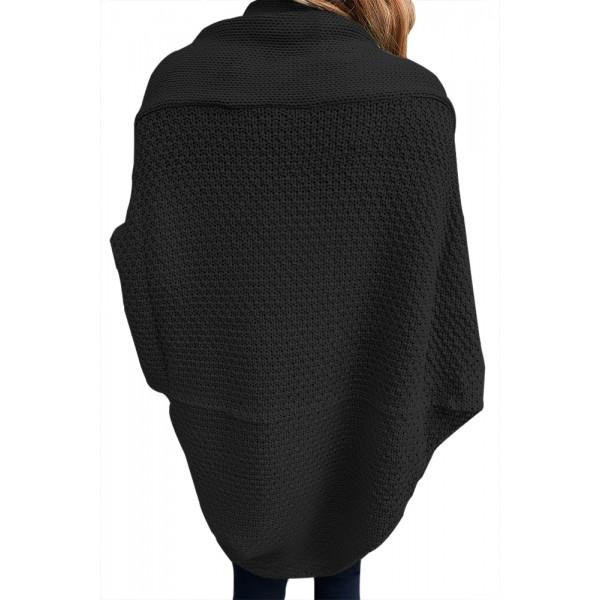 Black Chunky Knit Open Front Dolman Cardigan