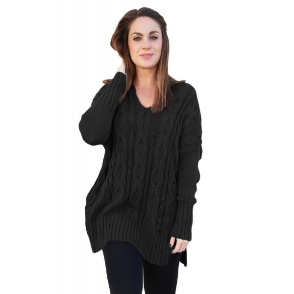 Black Oversized Cozy up Knit Sweater