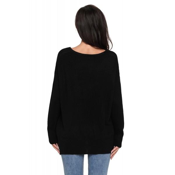 Black Oversized Long Sleeve Knitted V-Neck Sweater