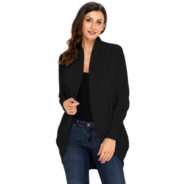Black Super Soft Long Sleeve Open Cardigan