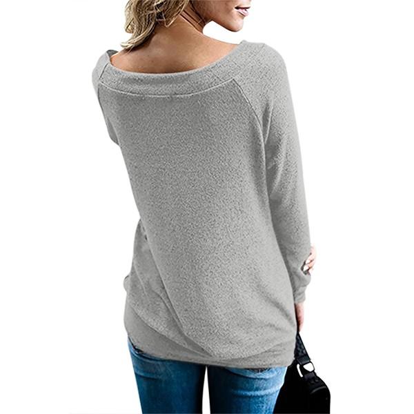 Gray Women's Off Shoulder Tunic Top