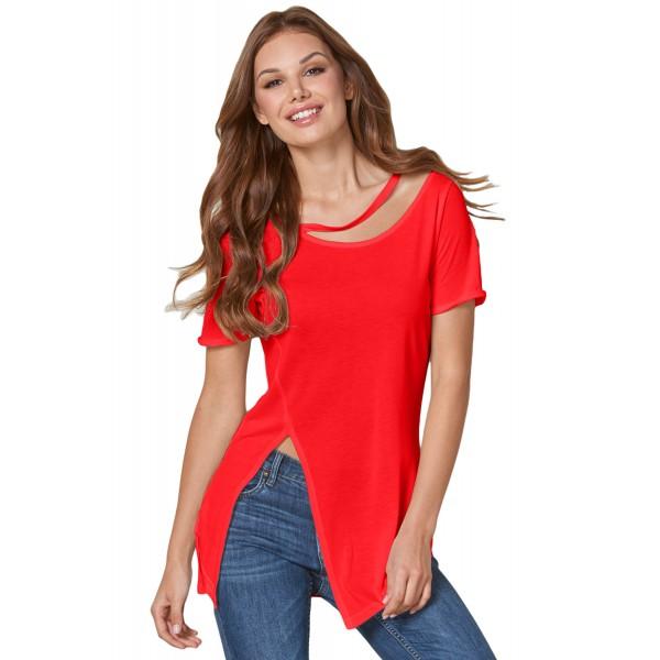 Red Asymmetric Split Detail One String Shirt