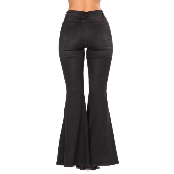 Black Denim Zipped Legs Bell Bottom Jeans