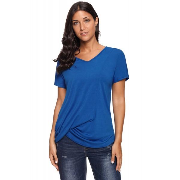 Royal Blue V-Neck Twist Ruched Basic Short Sleeve ...