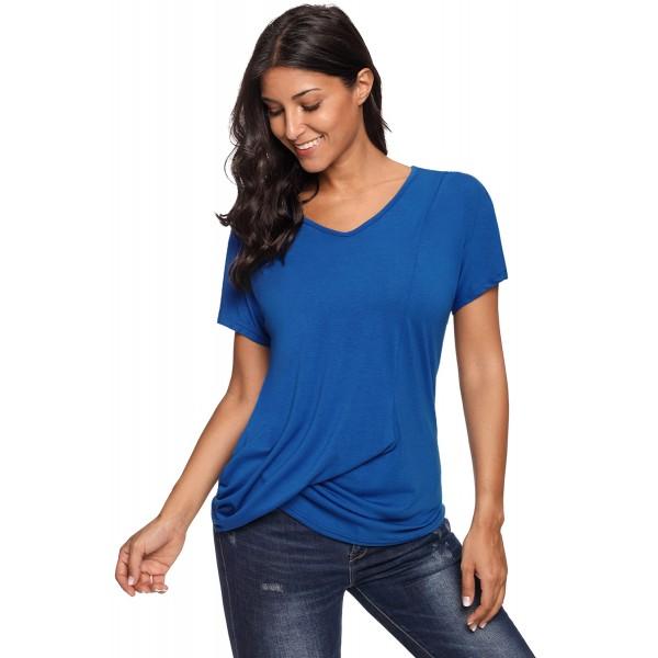 Royal Blue V-Neck Twist Ruched Basic Short Sleeve Tee