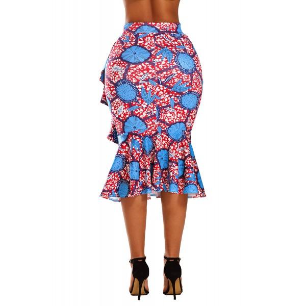 Blue Red African Print Ruffle Trim Bodycon Skirt