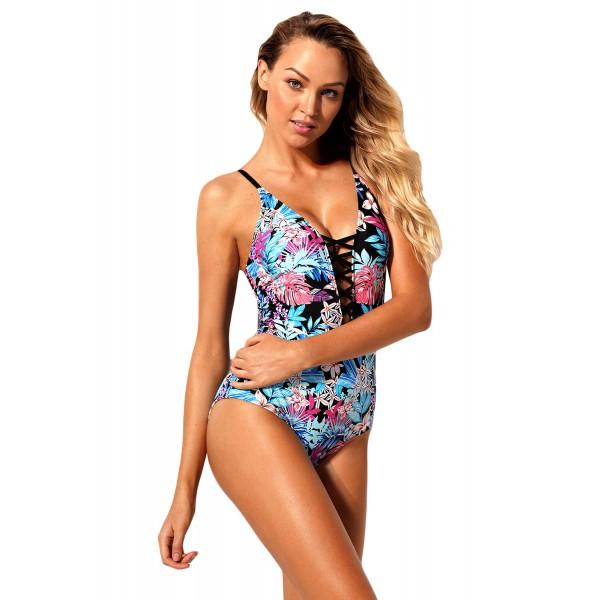 Flourish Tropical Print Lace Up One Piece Swimsuit