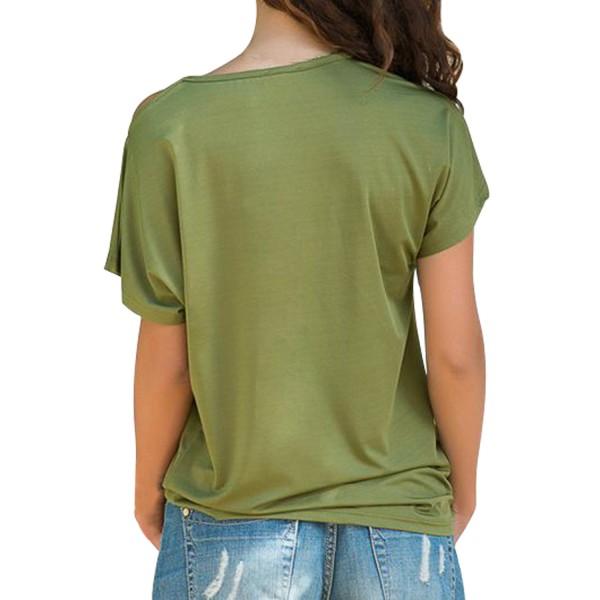 Glittery Cross Shoulder Detail Army Green Short Sleeve Tee
