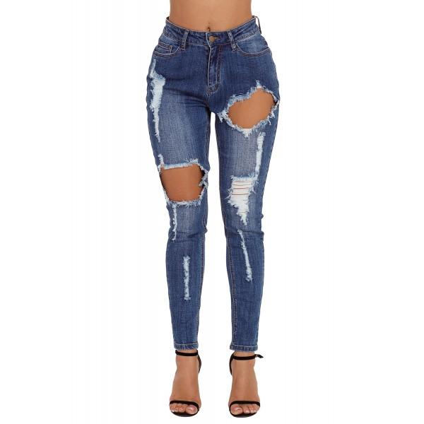 Medium Blue Wash Roll-up Cuff Distressed Jeans