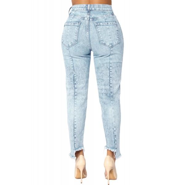 Acid Wash Designful Seam Accent Raw Hem Jeans