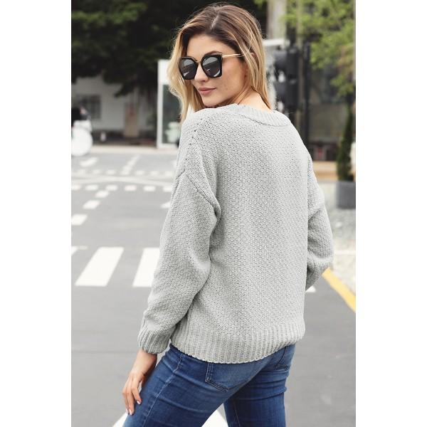 Grey Reversible Velvet O Neck Sweater