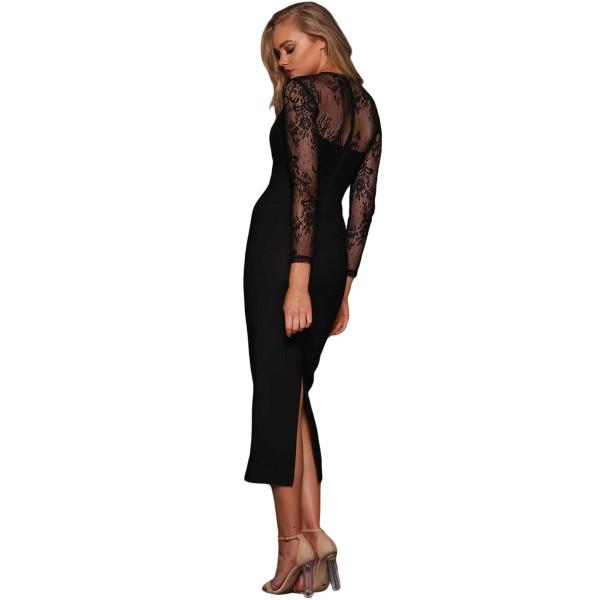 Black Lace Splice Bodycon Midi Dress