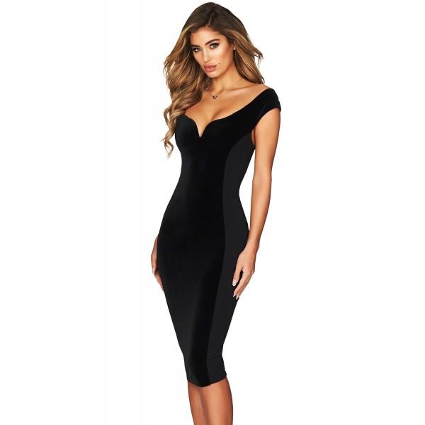 Show Hourglass Figure Black Off Shoulder Dress