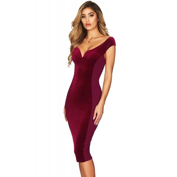 Show Hourglass Figure Burgundy Off Shoulder Dress