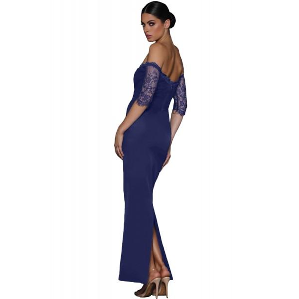 Navy Sheer Lace Sleeve Off Shoulder Maxi Dress