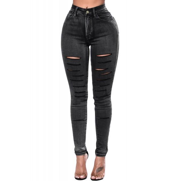 Black Faded Denim Wash Leg Ripped Skinny Jeans