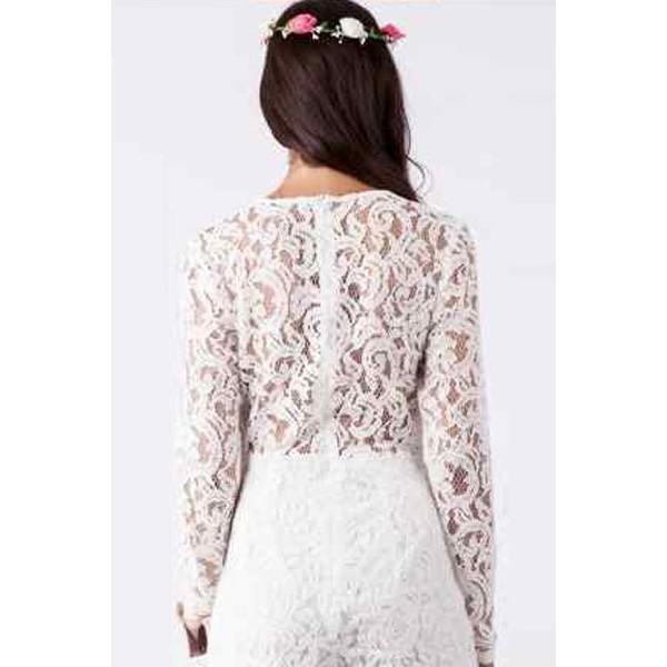 White Alluring Deep V Neck Long Sleeve Lace Romper