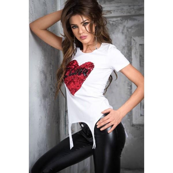 Stunning Sequined Heart White Garter T-shirt