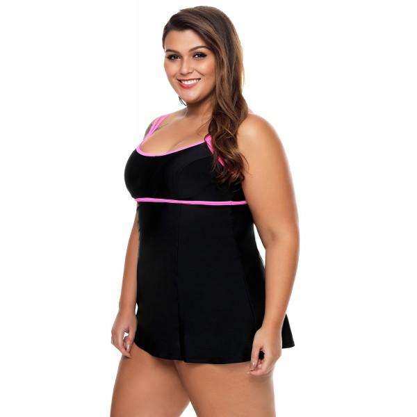 Stylish Double Shoulder Straps Black One-piece Swimdress