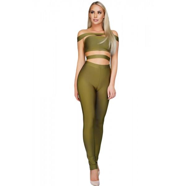 Olive Off The Shoulder Bandage Jumpsuit