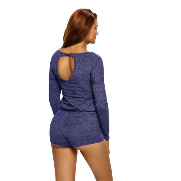 Blue Casual Off Shoulder Long Sleeve Romper