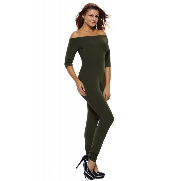 Olive Green Bardot Neckline Fashion Jumpsuit