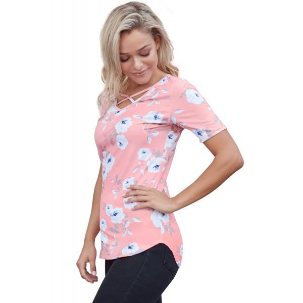 Pink Super Soft Floral Tee Shirt with Crisscross Neck