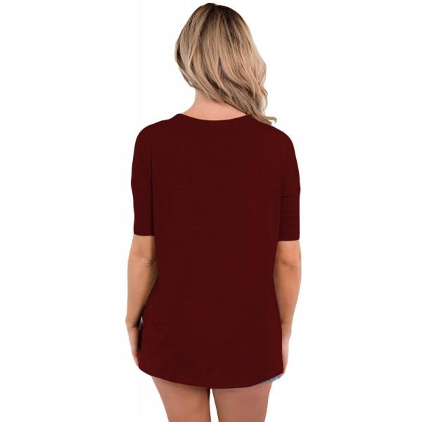 Burgundy Cutout Choker Detail Short Sleeve T-shirts