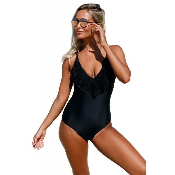 Black Lace Ruffle One Piece Swimsuit