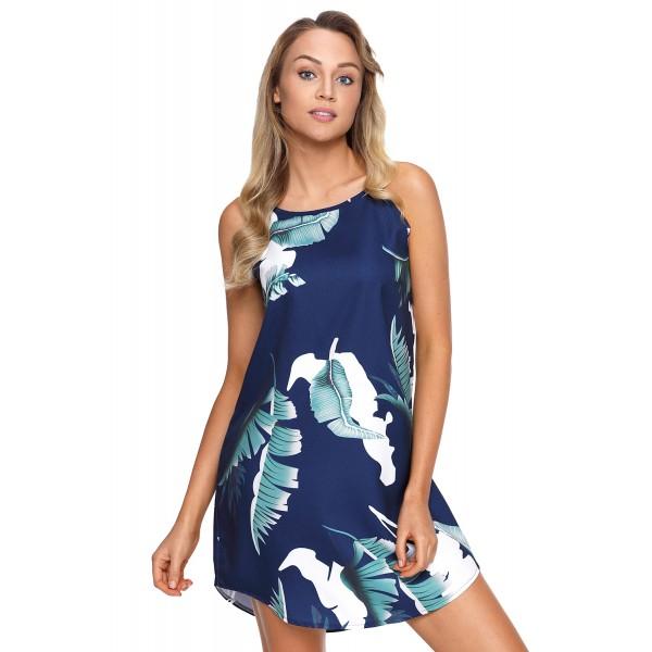 Palm Tree Leaf Print Navy Sleeveless Dress