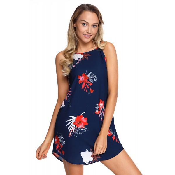 Blooming Red Flower Print Navy Sleeveless Dress
