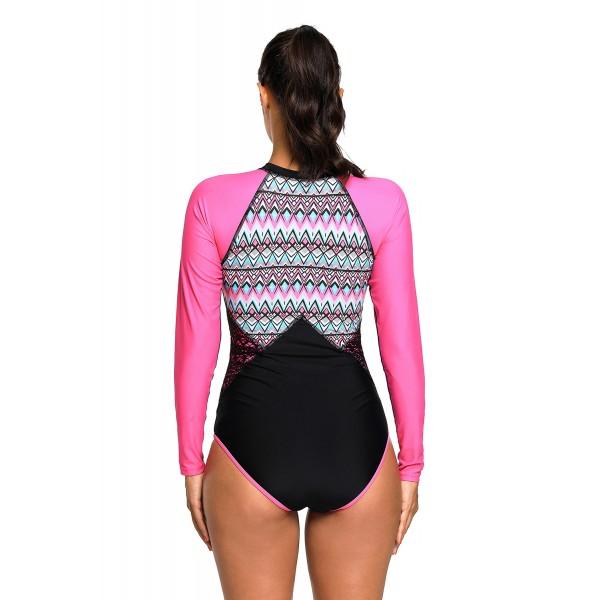 Aztec Print Rosy Rashguard Long Sleeve One Piece Swimsuit