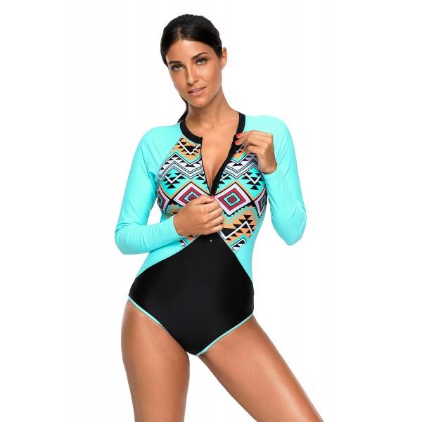 Aztec Print Blue Rashguard Long Sleeve One Piece Swimsuit
