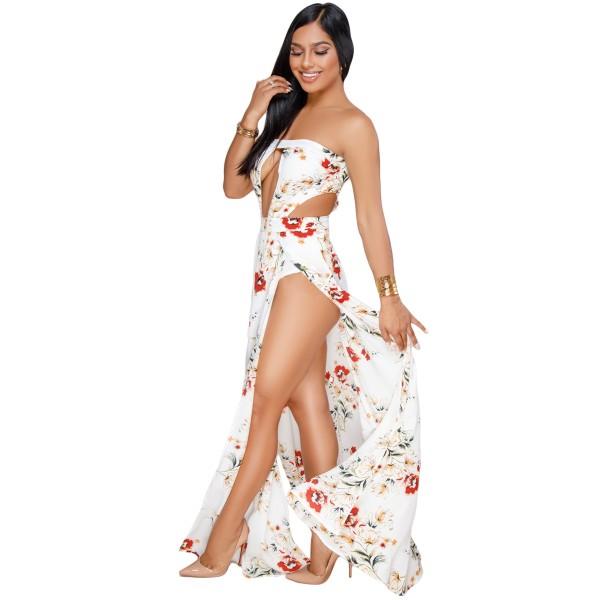 White Floral Print Slit Legs Strapless Jumpsuit