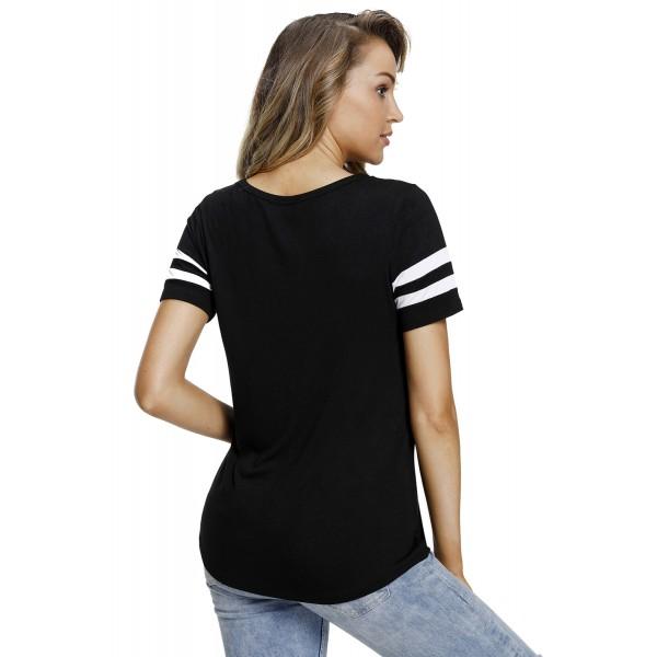 Varsity Striped Short Sleeve Black V Neck T-shirt