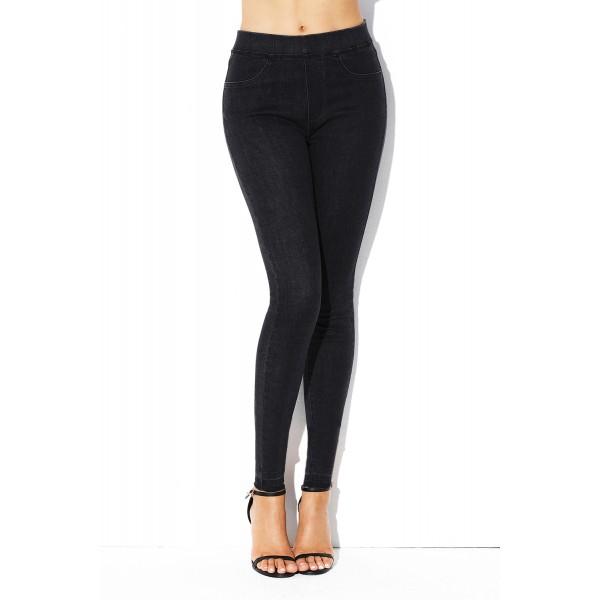 Black Elastic Waist Jeans Stretch Pants for Women