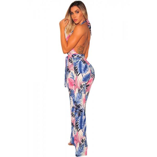 Blue Palm Print Halter Belted Jumpsuit