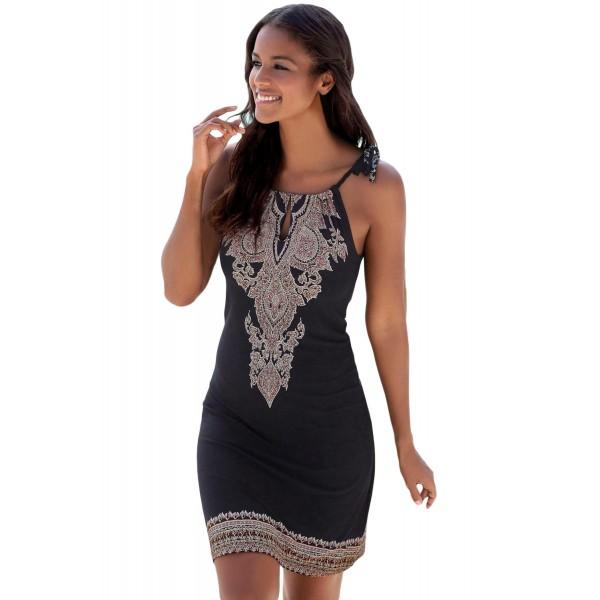 Black Bohemian Print Keyhole Front Dress