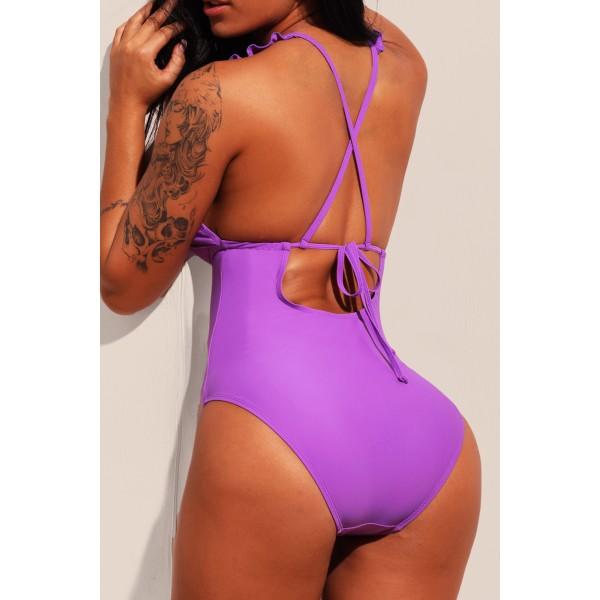 Purple Plunge V Neck Ruffled Detail Maillot Swimwear