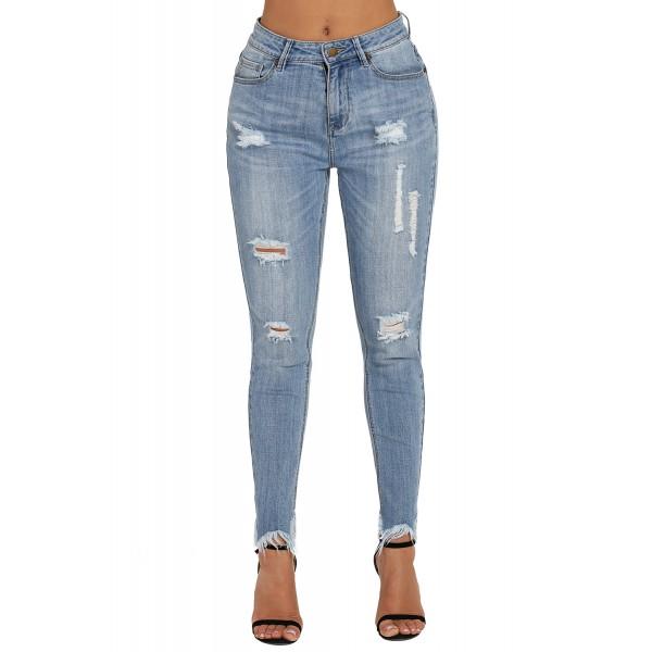 Medium Blue Wash Fringe Affair Flare Jeans