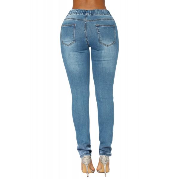 Medium Blue Wash Elastic Drawstring Waist Denim Pants