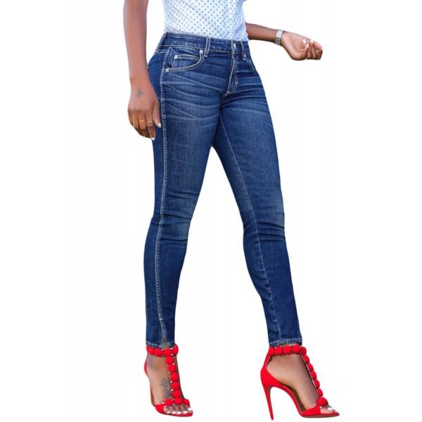 Blue Slit Front Skinny Jeans for Women