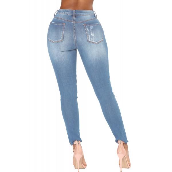 Faded Denim Wash Distressed Light Blue Jeans