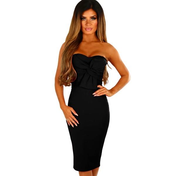 Black Twist Knot Front Strapless Midi Dress