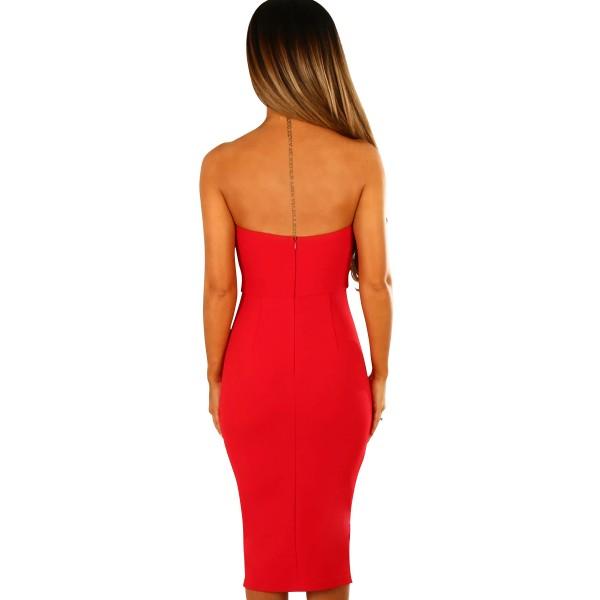 Red Twist Knot Front Strapless Midi Dress